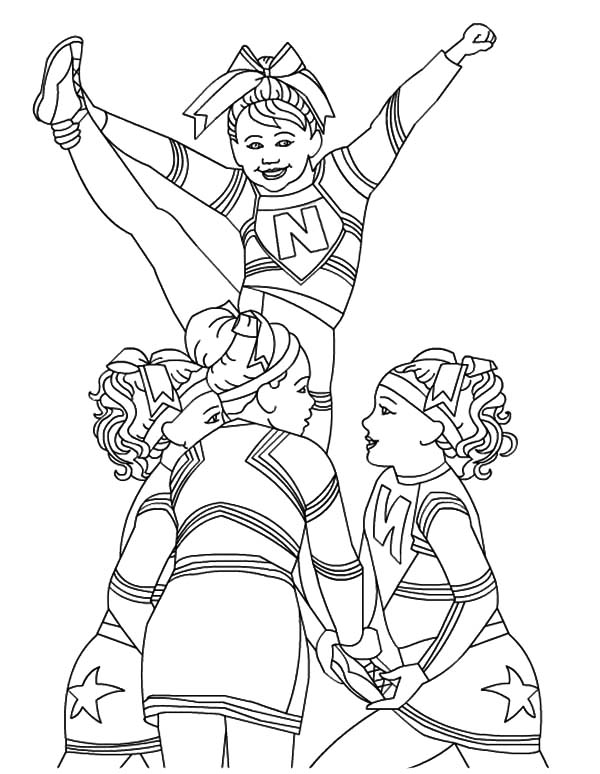 Cheerleader, : Cheerleader Perform Great Stunt Coloring Pages