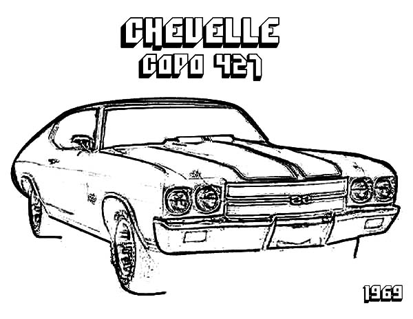 Chevy Cars, : Chevy Cars Chevelle Copo 427 Coloring Pages