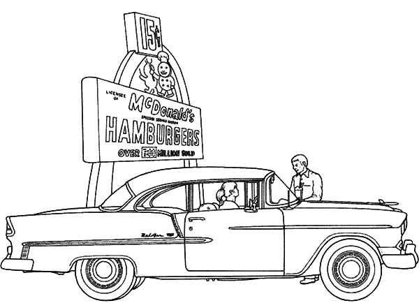 Chevy Cars, : Chevy Cars at McD Drive In Coloring Pages