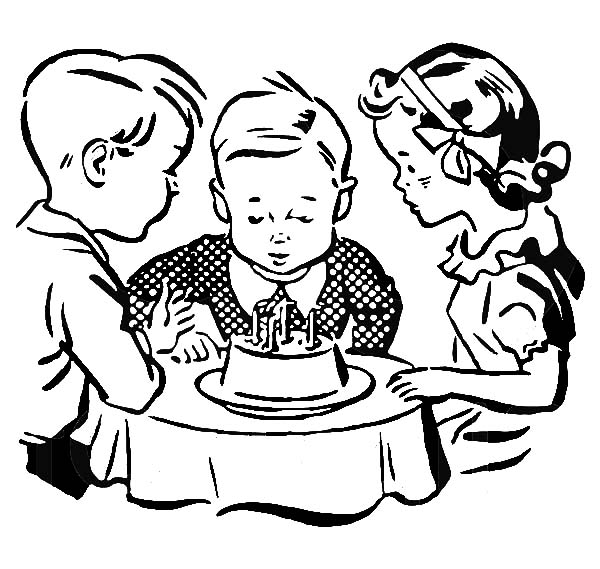 Birthday Boy, : Children Watching a Birthday Boy Blow Out His Birthday Cake Candles Coloring Pages