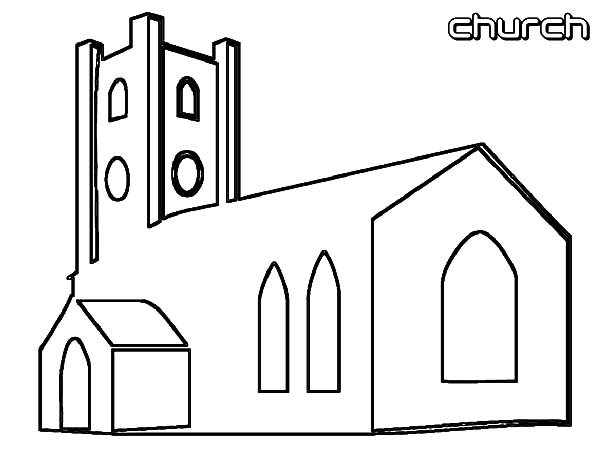 Church, : Christian Church Coloring Pages