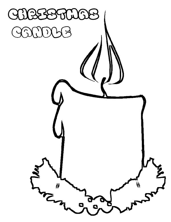 Candle, : Christmas Candle Coloring Pages