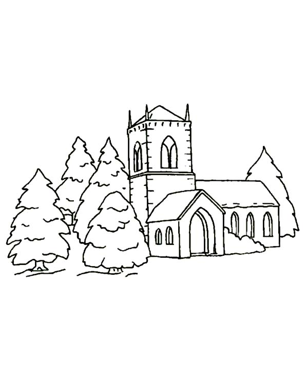 Church, : Christmas Church Covered in Snow Coloring Pages