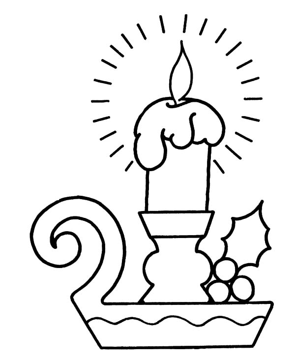 Candle, : Christmas Holiday Candle Coloring Pages