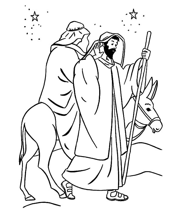 Mary And The Donkey, : Christmas Mary and the Donkey Coloring Pages
