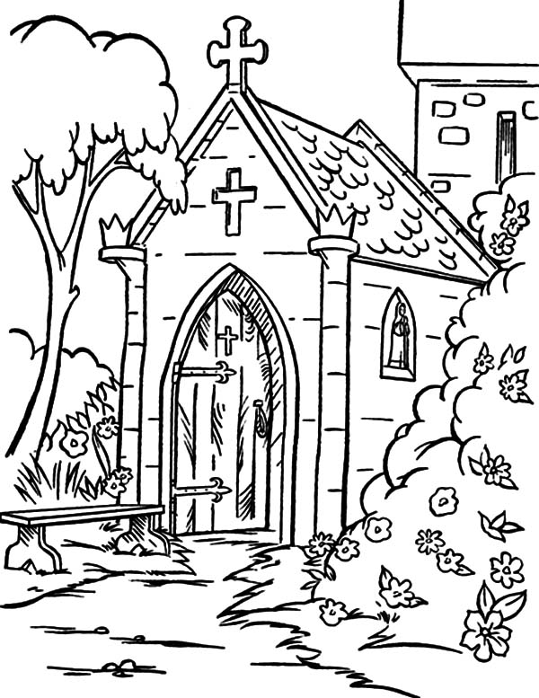Church, : Church Backyard Coloring Pages