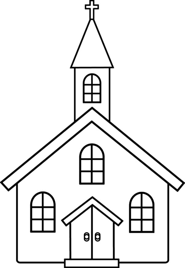 Church, : Church Coloring Pages for Kids