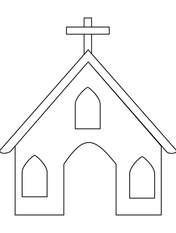 Free church outline coloring pages
