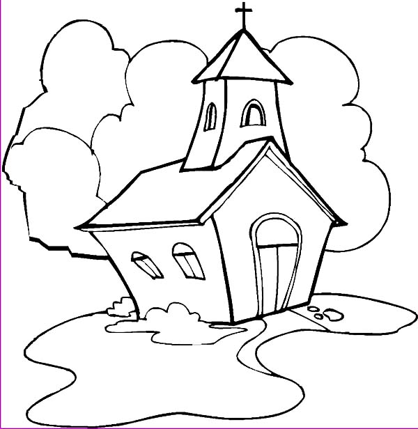 Church, : Church Painting Coloring Pages