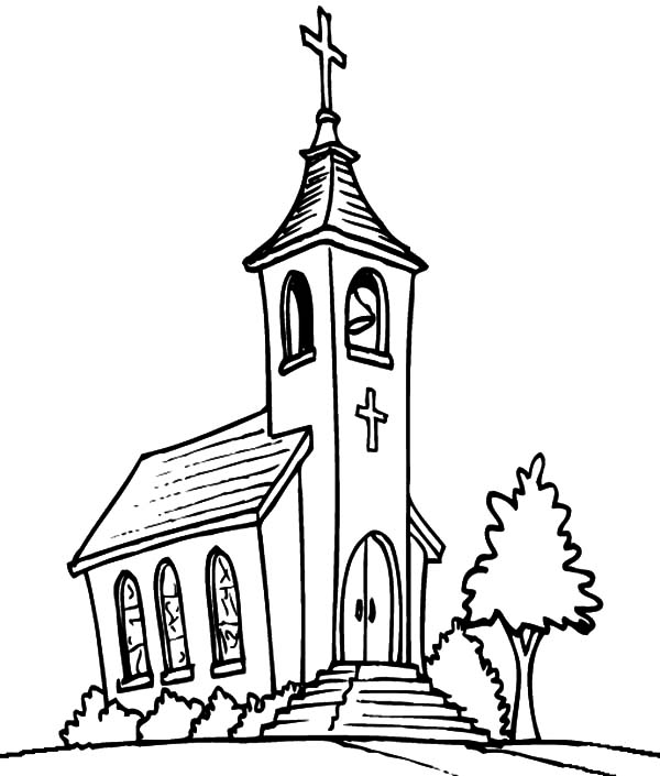Church, : Church Tower with Bell Coloring Pages