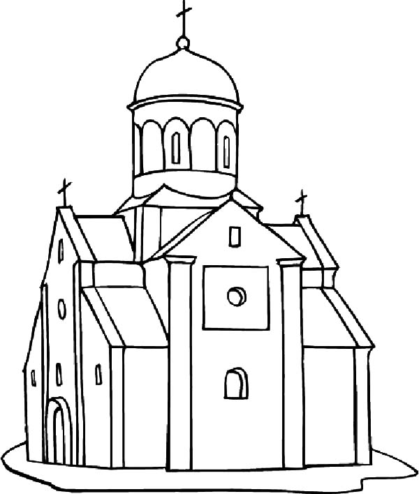 Church, : Church in Europe Coloring Pages