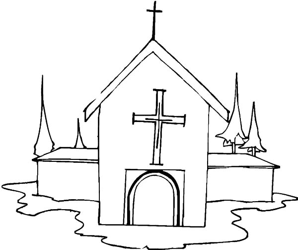 Church, : Church in Winter Coloring Pages