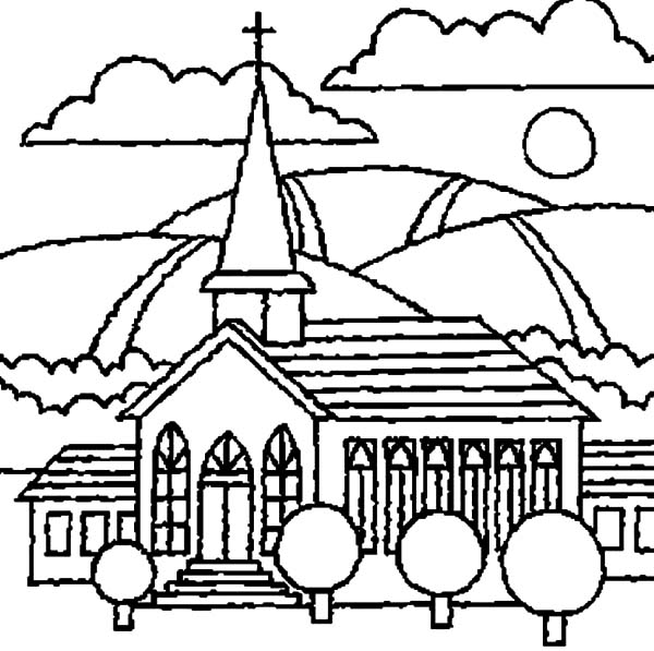 Church, : Church with Beautiful View Coloring Pages