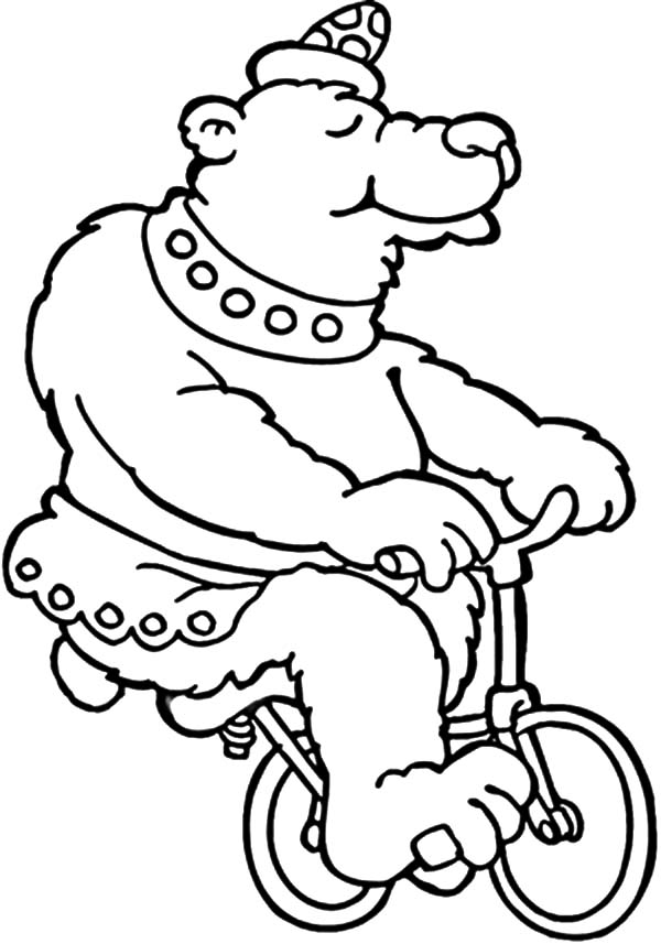 Circus Bear, : Circus Bear Ride Little Bike Coloring Pages