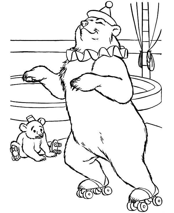 Circus Bear, : Circus Bear Showtime with His Baby Coloring Pages