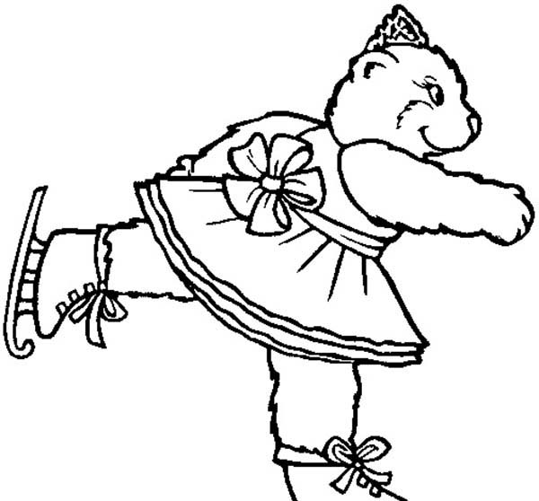 Circus Bear, : Circus Bear Skating Show Coloring Pages