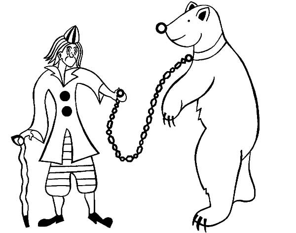 Circus Bear, : Circus Bear and Circus Clown Coloring Pages