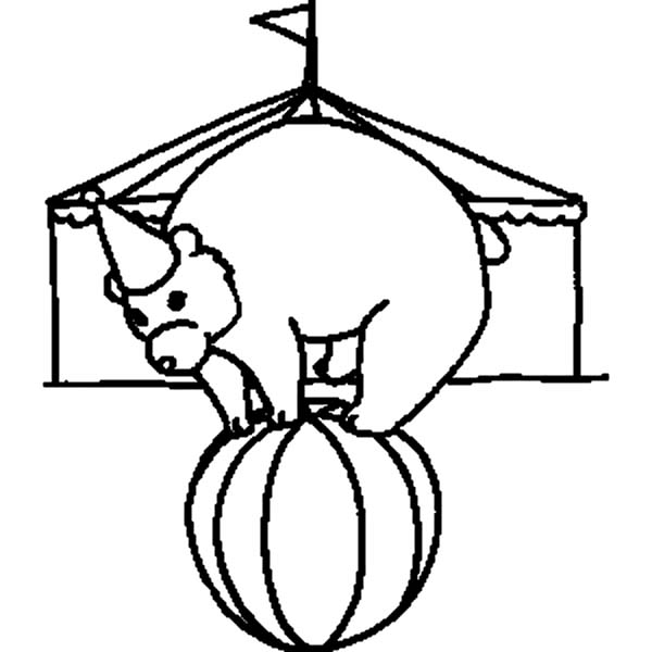Circus Bear, : Circus Bear in Front of Circus Tent Coloring Pages