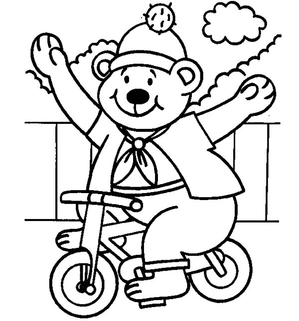 Circus Bear, : Circus Bear on Sunny Day Coloring Pages