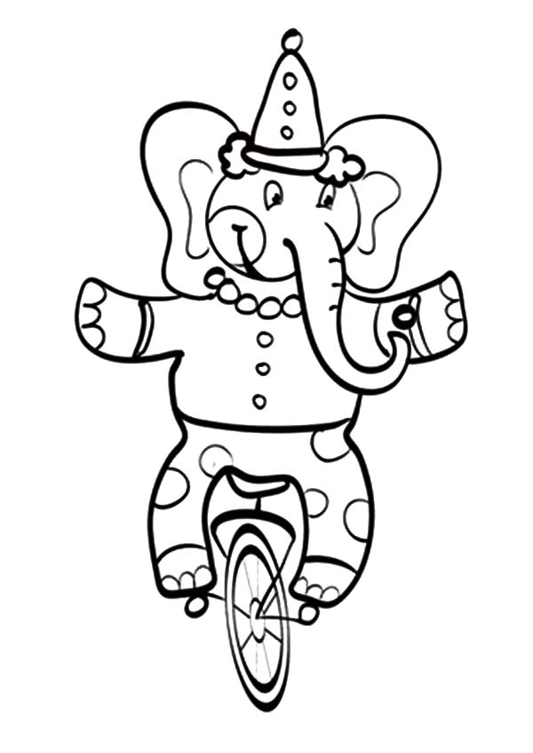 Circus Elephant, : Circus Elephant Amazing Balance Coloring Pages