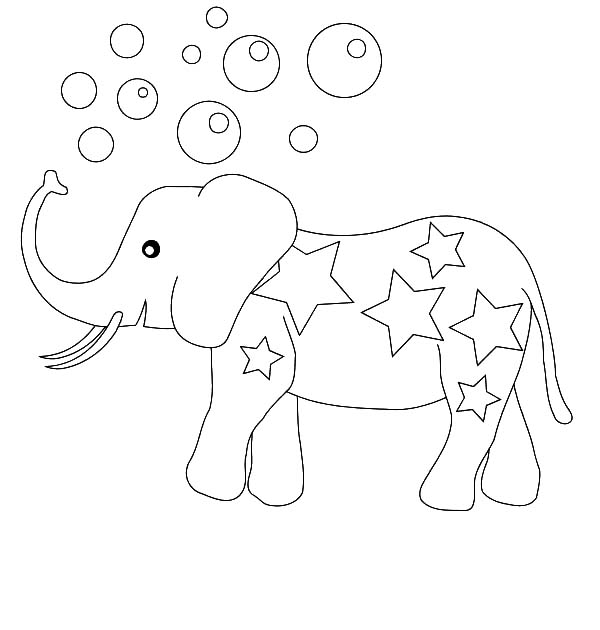 Circus Elephant, : Circus Elephant Making Bubbles Coloring Pages