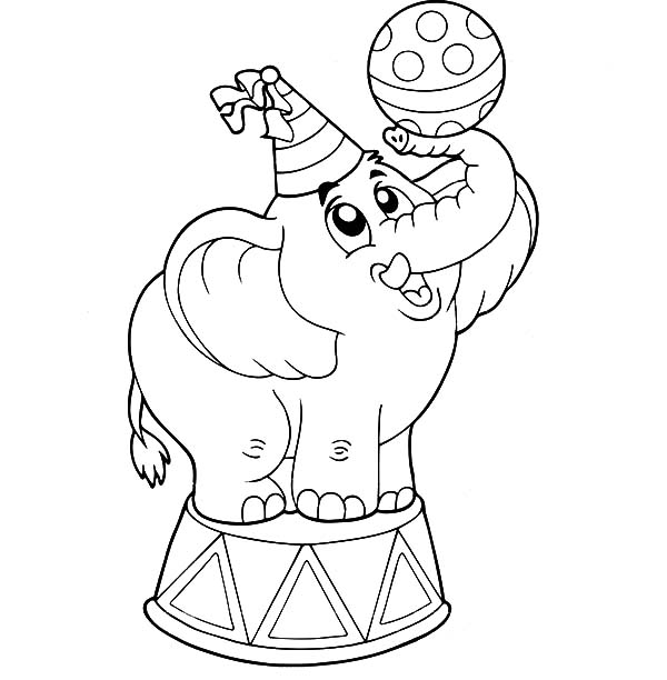 Circus Elephant, Circus Elephant Playing with Ball Coloring Pages: Circus Elephant Playing With Ball Coloring PagesFull Size Image