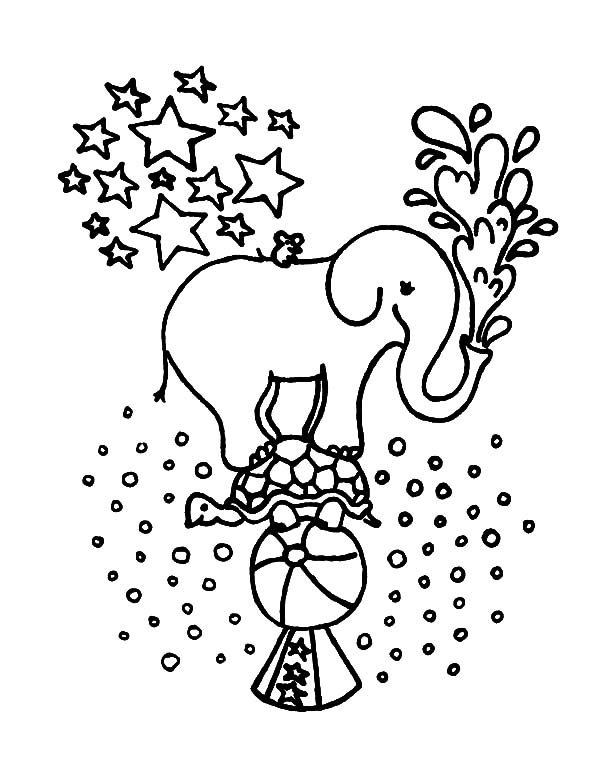 Circus Elephant, : Circus Elephant Standing on Turtles Back Coloring Pages