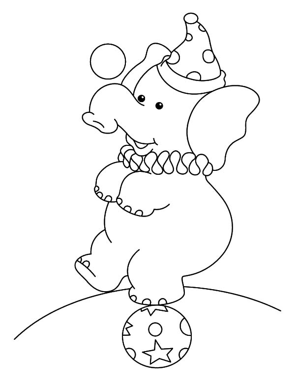 Circus Elephant, : Circus Elephant Standing on a Ball Coloring Pages