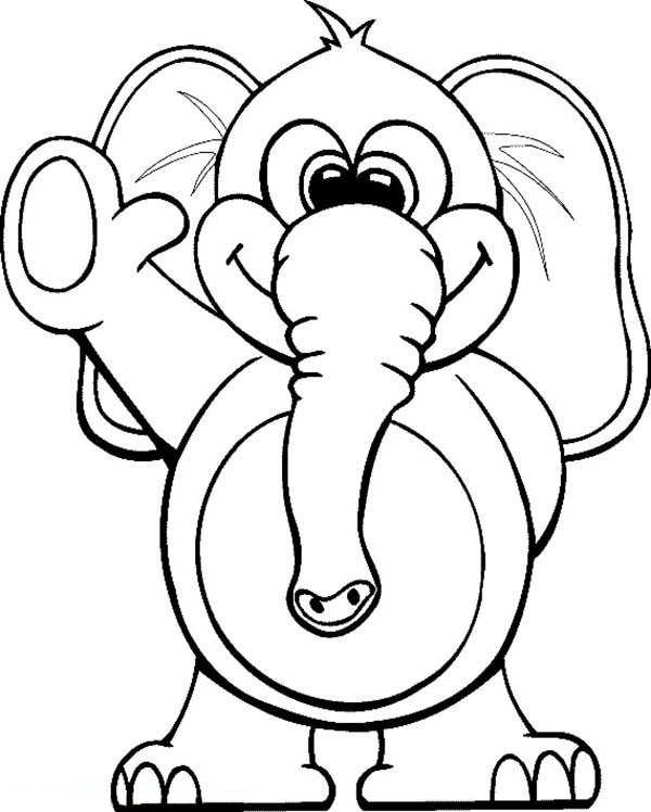 Circus Elephant, : Circus Elephant Waving Hand Coloring Pages