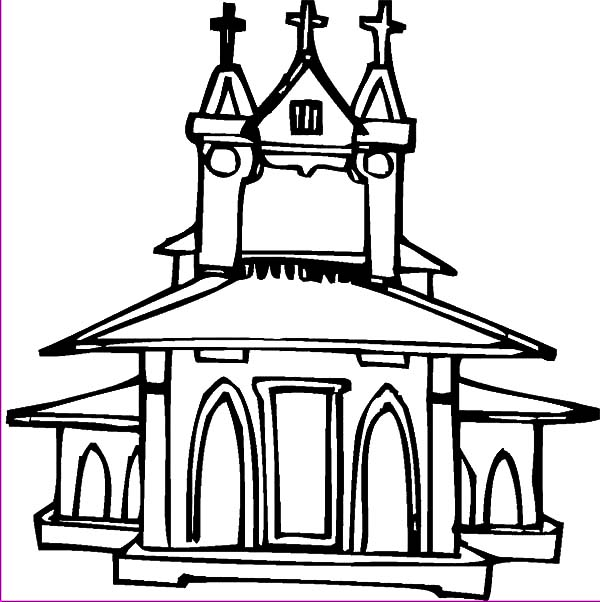 Church, : Classic Design Church Coloring Pages