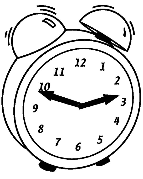 Clock, : Clock Alarm Ringing Coloring Pages