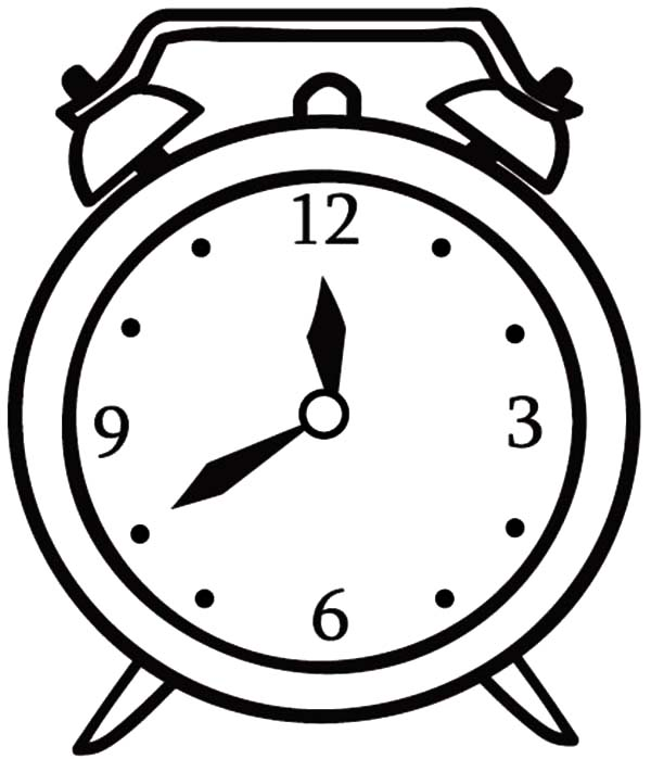 Clock, : Clock Coloring Pages for Kids