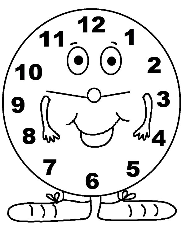 Clock, : Clock Had Pait of Legs Coloring Pages
