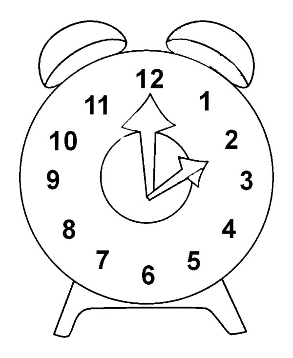 Clock, : Clock Outline Coloring Pages