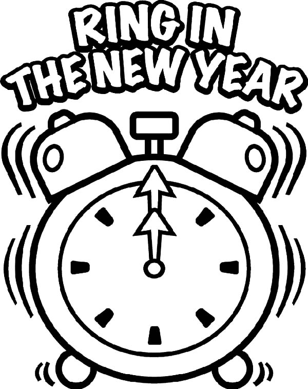 Clock, : Clock Ring in the New Year Coloring Pages