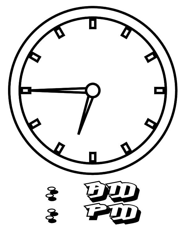 Clock, : Clock Shows Time Coloring Pages