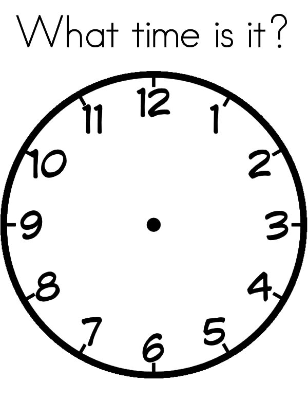 Clock, : Clock What Time is it Coloring Pages