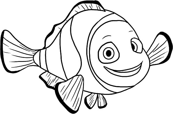 Clown Fish, : Clown Fish Saying Hello Coloring Pages