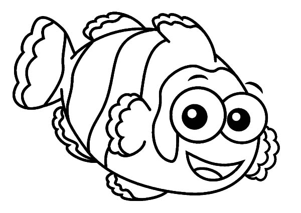 Clown Fish, : Clown Fish with Big Eyes Coloring Pages