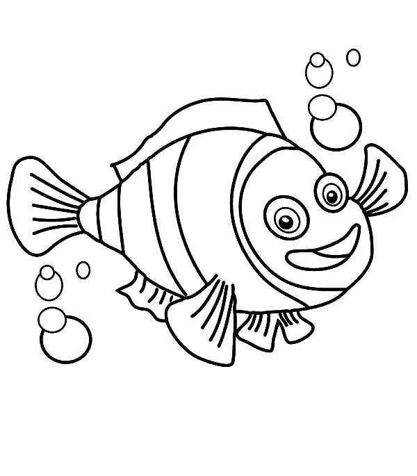 Clown Fish, : Clown Fish with Bubbles Coloring Pages