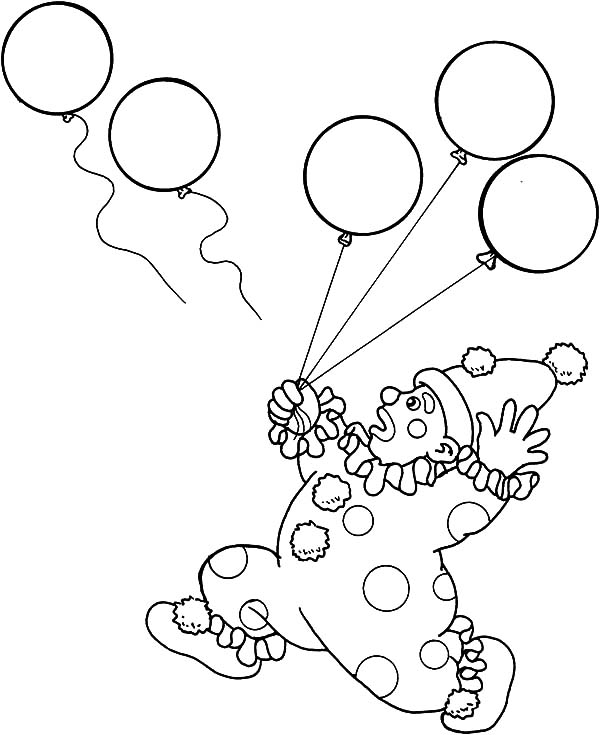 Carnival, : Clown Lose His Balloons Carnival Coloring Pages