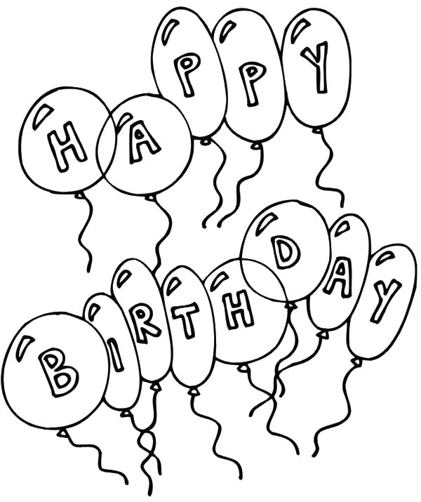Birthday Balloons, : Colorful Birthday Balloons Coloring Pages