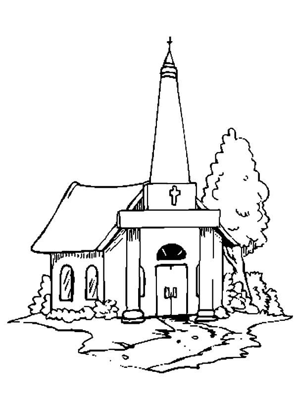 Church, : Country Church Coloring Pages