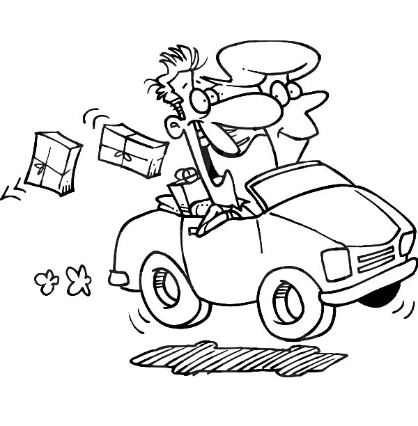 Car Driving, : Couple Driving Car Dropping Packages Coloring Pages