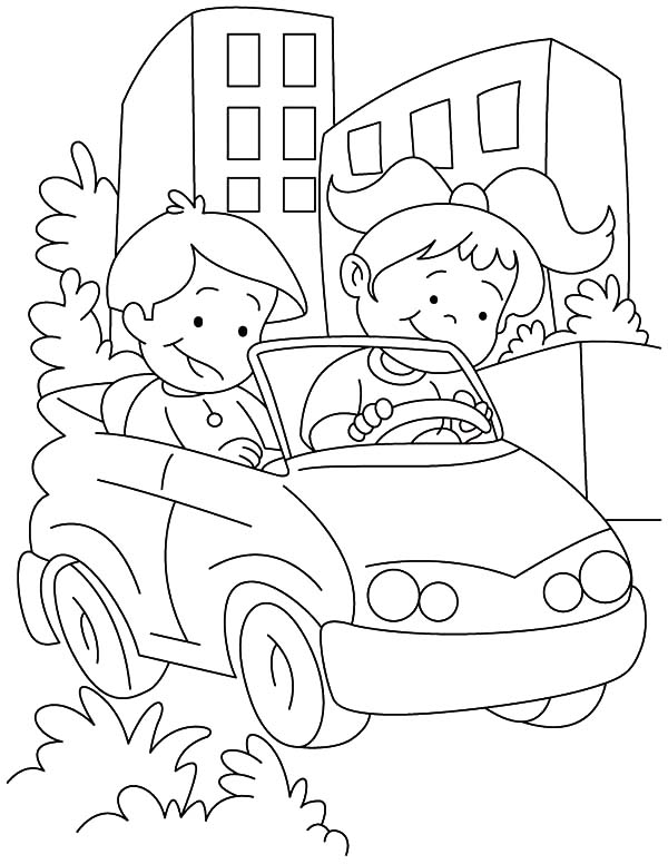 Car Driving, : Couple Kids Learn Driving Car Coloring Pages