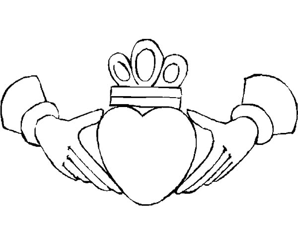 Hands, : Crowned Heart in Hands Coloring Pages