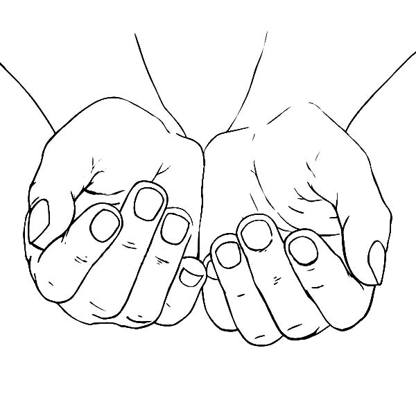 Hands, : Cupped Female Hands Coloring Pages