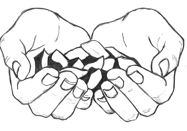Hands, : Cupped Hands Bring Us Candy Coloring Pages