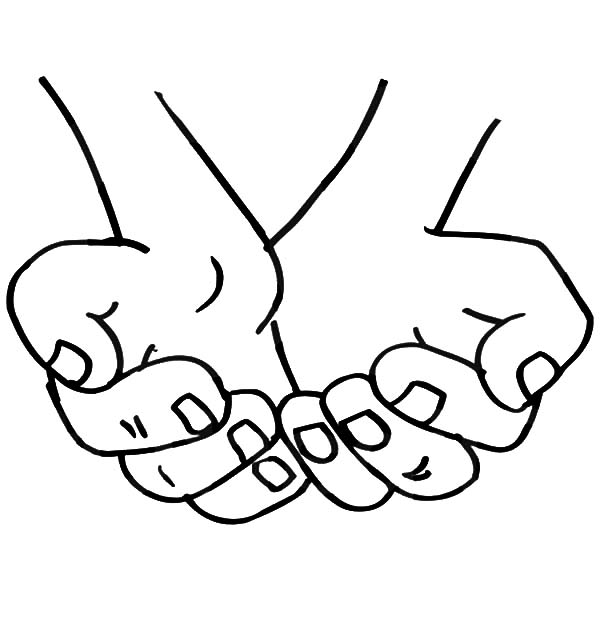 Hands, : Cupped Hands Coloring Pages