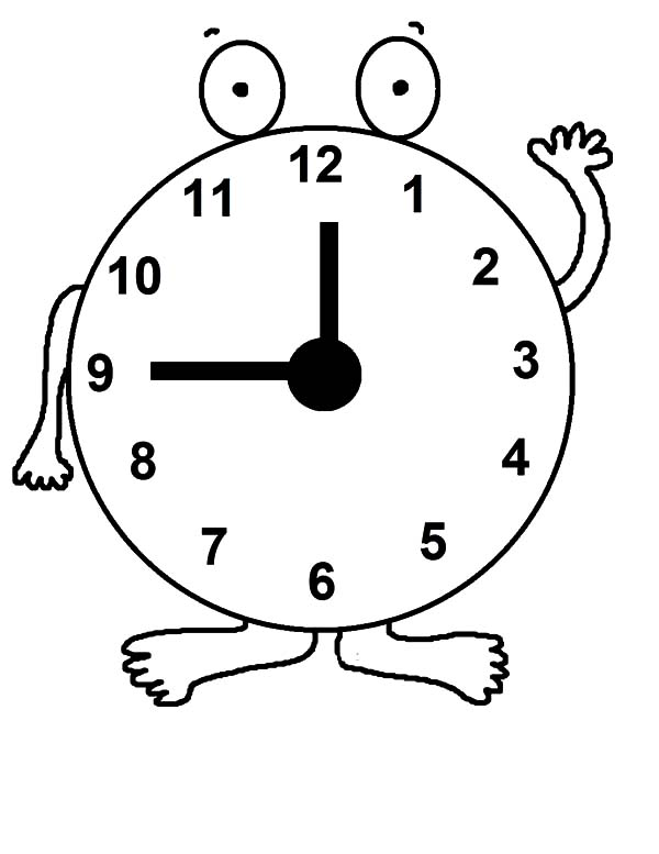 Clock, : Daylight Savings Time Clock Coloring Pages